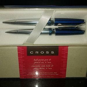 Cross Sydney Blue and Chrome Pen & Pencil Set